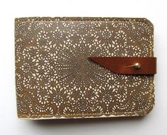 Leather card case/ Oyster card holder - Antique lace design #poachit