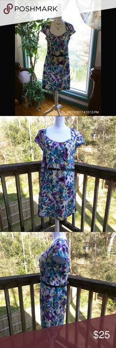 """🔵Newly Listed Olivia Matthews Dress ( Belt Not Included) Size 18 W 100% Cotton Bust 42"""" Shoulder to shoulder 16 3/4"""" Length 38"""" Purple, navy blue, yellow, turquoise 2nd picture shows dress truer to size Olivia Matthews Dresses Midi"""