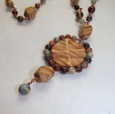 Wood Jasper and Necklace by TJDbyIris on Etsy, $60.00