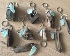 Driftwood Sea Glass KeyRing Handmade from Isle of Wight Beaches Natuical Gift Idea Beach Love Key Chain Fob Wedding Favors #seaglassjewelry