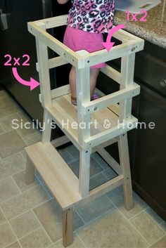 Woodworking Projects For Kids DIY Learning Tower to keep kids safe in the kitchen. - Don't spend a ton of money on a learning tower. Have your little one help you in the kitchen with this DIY Learning Tower! Kids Woodworking Projects, Wood Projects For Kids, Diy Woodworking, Woodworking Furniture, Woodworking Videos, Woodworking Organization, Diy Projects, Intarsia Woodworking, Woodworking Techniques