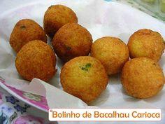 RECEITAS - Peixes - Bolinho de Bacalhau à Carioca, com salsa e batata, recheado com camarão !!! ----@---- Cookie Codfish Carioca, with parsley and potatoes, stuffed with shrimp!!