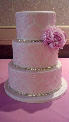 Pink damask diamond sweet 16 cake (1772)