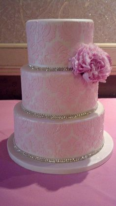 Pink damask diamond sweet 16 cake (1772)