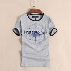 men's fashion cotton T-shirt,get it in black white and gray.