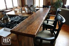 Check out our extensive library of beautiful custom reclaimed wood bars & kitchen island tops online or make an appointment with our mobile showroom! Outdoor Kitchen Countertops, Concrete Countertops, Granite, Kitchen Tops, New Kitchen, Vintage Kitchen, Kitchen Ideas, Kitchen Decor, Reclaimed Wood Bars