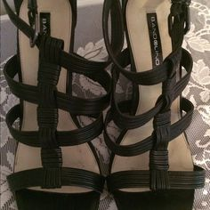 Gorgeous wedges Designer made black wedges excellent condition Bandolino Shoes Wedges