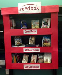 """Readbox"" display: one dollar cheaper than Redbox! (Davenport Public Library)"