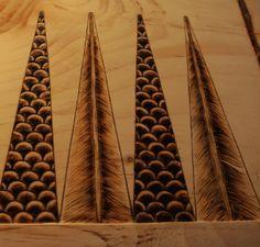 Trevor Moody Backgammon Board, triangles made with wood burner