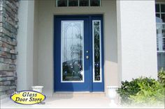 Fontanya front door insert with matching side window called a sidelight. We added to the existing door so the frame is white until it is painted.  www.GlassDoorsTampa.com