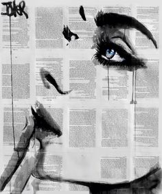 "More black and white illustration on newspaper Saatchi Art Artist Loui Jover; Drawing, ""never know (SOLD)"" Journal D'art, Newspaper Art, Raoul Dufy, Gustav Klimt, Oeuvre D'art, Love Art, Art Inspo, Painting & Drawing, Amazing Art"