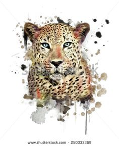 Illustration Leopard/T-Shirt Graphics/Abstract Watercolor Like Leopard/Leopard Graphics On A White Background/Wild Leopard Hunting/Leopard Print On Canvas - 250333369 : Shutterstock
