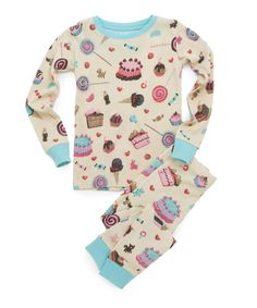 Take a look at this Cream & Turquoise Candy Pajama Set - Toddler & Girls on zulily today!