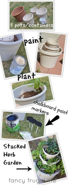 DIY Stacked Herb Garden, made with inexpensive pots and handmade chalkboard paint markers.