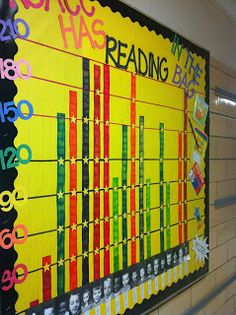 Modify for a student/class data board. Track reading goals/minutes read on class bulletin board. Add photos and incentives to encourage students! Class Bulletin Boards, Reading Bulletin Boards, 40 Book Challenge, Reading Challenge, Classroom Displays, Classroom Organization, Classroom Data Wall, School Displays, Book Displays