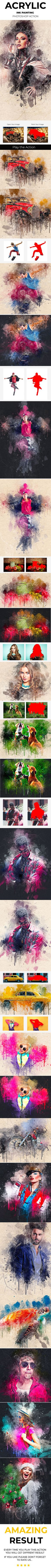 #Acrylic Ink #Painting #Photoshop Action - Photo Effects Actions