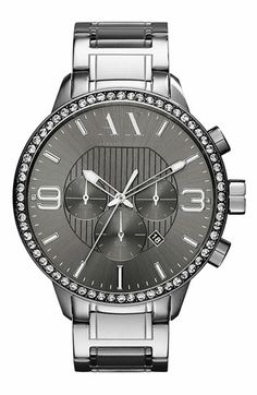 AX Armani Exchange Crystal Bezel Watch available at #Nordstrom