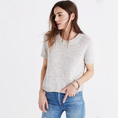 Wear it as a top, layer it over a button-down—this tee-style sweater can do it all. <ul><li>True to size.</li><li>Cotton/nylon.</li><li>Hand wash.</li><li>Import.</li></ul>