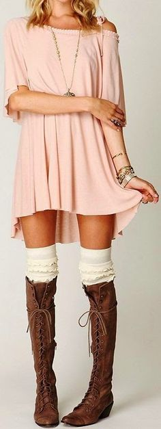Free People Blouse with Lace Up Boots