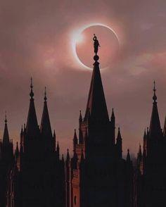 Total Solar Eclipse background. Salt Lake LDS Temple
