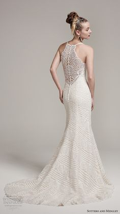 Back view Sottero Midgley fall 2016 bridal sleeveless spagetti strap scallop sweetheart neckline full embellishment romantic fit and flare wedding dress lace illusion back sweep train (bexley) bv