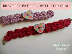 My Hobby Is Crochet: Crochet bracelet with heart button I add beads to it with a button to close it!