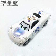 Pixar Cars Pisces Constellation Diecast Toy Disney Macqueen White Cartoon Racing Metal Car 1:55 Alloy Model Toy For Children #Affiliate