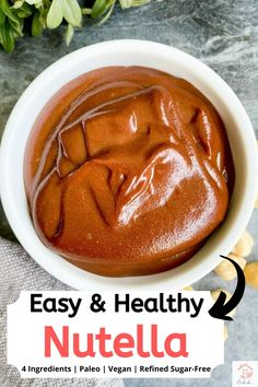 Homemade Healthy Nutella using 4 ingredients! No oil or refined sugar. 5 minutes to make & HALF the calories as store bought nutella. Chocolate Banana Bread, Chocolate Chip Oatmeal, Healthy Chocolate, Homemade Nutella Recipes, Clean Simple Eats, Good Healthy Recipes, Happy Healthy, Paleo Recipes, Healthy Snacks