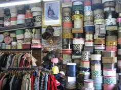 Wall of vintage hat boxes. Vintage Hat Boxes, Vintage Hats, Dozen, Fabric Board, Boxes For Sale, Displaying Collections, Hat Pins, Vintage Green, Getting Organized