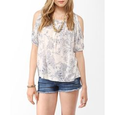Forever 21 Floral Cutout Shoulder Top ($16) ❤ liked on Polyvore