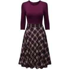 Round Neck Plaid Skater Dress (€30) ❤ liked on Polyvore featuring dresses, 3/4 sleeve skater dress, skater dress, three quarter length sleeve dresses, sleeved dresses and tartan plaid dress