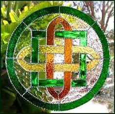 Irish - Celtic Design - Stained Glass Suncatcher  Green & Gold by StainedGlassDelight, $69.95