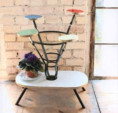 Vintage mid century plant stand wrought by WollariumsVintage Decor, Wrought, Mid Century Side Table, Tripod Table, Home Decor, Mid Century, Vintage, Color, Plant Stand