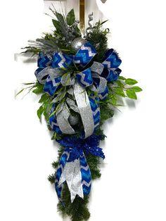 Blue Christmas  Wreath Blue Christmas Swag Blue by LisasLaurels