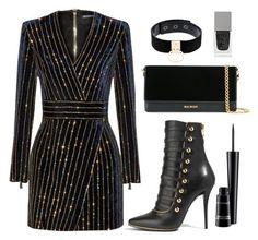 """Perfect Party Dress"" by samira-rahimova ❤ liked on Polyvore featuring Balmain, Manokhi, Givenchy and MAC Cosmetics"