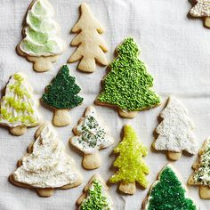 Sugar Cookie Christmas Tree~~What's Christmas without classic sugar cookies? Gather family, friends, and frosting, then get decorating. For extra glam, use festive shades of edible glitter -- your sugar cookie trees will be twinkling in no time.