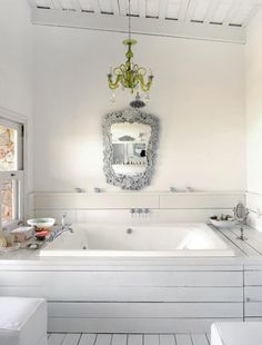 I have the chandelier I plan on having it installed over my jacuzzi tub like this <3