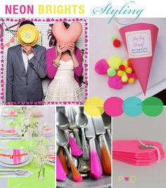 Neon Brights, Bright Colours, Wedding Inspiration, Bridal Inspiration Boards, Fashion, Styling, Ideas, Colour, Pink, Blue, Green, Yellow (1)