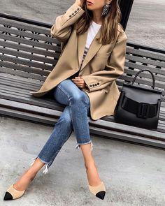 Beige Look From Zara - Mode für frauen - Outfits Look Blazer, Blazer With Jeans, Camel Blazer, Skinny Jeans, Casual Jeans, Zara Blazer, Outfit With Blazer, Pink Blazer Outfits, Blazer Outfits For Women