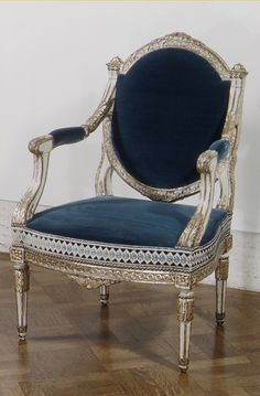Armchair (one of a pair) French 18th C  Carved Painted Beech