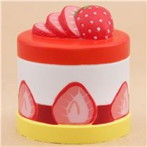 Preorder cute red white yellow strawberry round cake Vlampo squishy kawaii