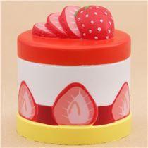 Preorder cute red white yellow strawberry round cake Vlampo squishy kawaii
