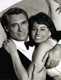Grant and Loren.  They were in love and he wanted to marry her, but she wound up marrying Carlo Ponti instead.