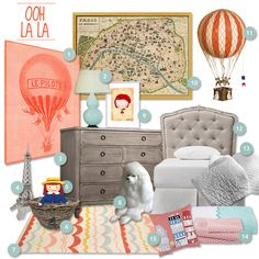 "wouldn't it be nice to have a little slice of paris upstairs? oui? now you can. 1. le pilote french hot air balloon print: $17.99 from etsy seller paper kut media. 2. robert abbey 31"" light blue ce..."