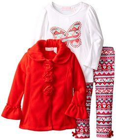 Kids Headquarters Little Girls' 3 Pack Fleece Butterfly Set
