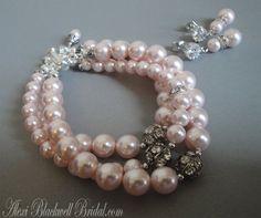 Bridesmaid Bracelet Set in Rosaline Pink by AlexiBlackwellBridal, $72.00
