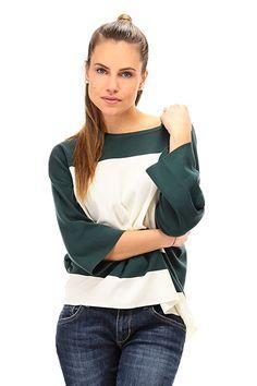 TWIN-SET SIMONA BARBIERI - Maglie - Abbigliamento - Maglia a righe in cotone a taglio svasato con manica a tre quarti. - LARICE\MADREPERLA - € 119.67