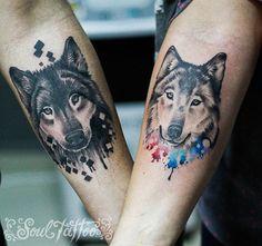 Pin by bill bennett on ideas in ink Wolf Tattoos, Black Cat Tattoos, Cute Tattoos, Tatoos, Animal Lover Tattoo, Tattoos For Dog Lovers, Animal Tattoos, Husky Tattoo, Fox Tattoo