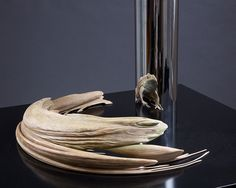 """jonty hurwitz creates anamorphic sculptures which only reveal themselves once facing a reflective cylinder"""