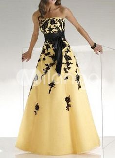 Classic Organza A-line Sweetheart Strapeless Floor-length Daffodil Prom Dresses Evening Party Gowns, Evening Dresses For Weddings, Women's Evening Dresses, Sexy Wedding Dresses, Cheap Prom Dresses, Strapless Dress Formal, Formal Dresses, Dress Prom, Maxi Dresses